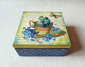 Krabičky - Drevená čajová krabička Zlatý porcelán - 9080554_