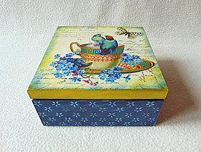 Krabičky - Drevená čajová krabička Zlatý porcelán - 9080555_