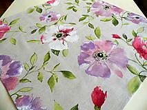 Obrus maľované kvety na režnom - stredový obrus