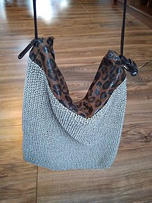 Kabelky - Dámska pletená kabelka s leopardím vzorom - 9081405_