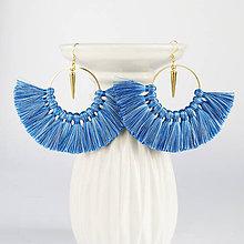 Náušnice - Zlaté kruhové náušnice - modré - 9081746_