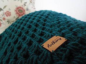 Úžitkový textil - Hačkovaná deka Petrolejka - 9079383_