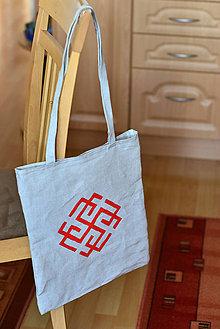Nákupné tašky - Ľanová nákupná taška Rodimič s rúčkami na rameno - 9079529_