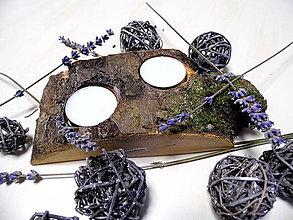 Svietidlá a sviečky - Drevený svietnik s kôrou - 9081711_
