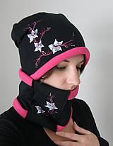 Čiapky - Čierno-ružový zimný set - 9078492_
