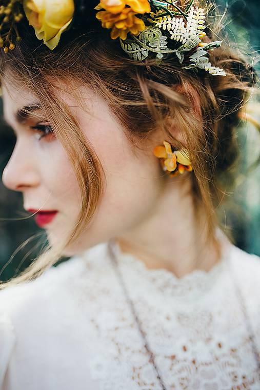 """Náušnice - Kvetinové náušnice """"dotyk slnka"""" - klipsne - 9079776_"""