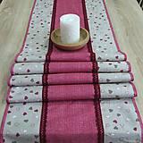 Úžitkový textil - Režné variácie ružové - stredový obrus (2) - 9079074_