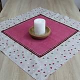 Úžitkový textil - Režné variácie ružové - obrus štvorec(2) 70x70 - 9079288_