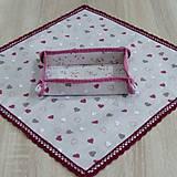 Úžitkový textil - Režné variácie ružové - obrus štvorec 42x42 - 9079549_