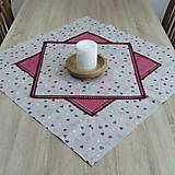 Úžitkový textil - Režné variácie ružové - obrus štvorec 42x42 - 9079550_