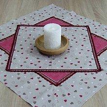 Úžitkový textil - Režné variácie ružové - obrus štvorec 42x42 - 9079551_