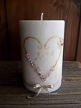 Svietidlá a sviečky - Svadobná sviečka palmový vosk s korálkami - 9079793_