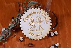 Darčeky pre svadobčanov - Svadobná magnetka drevená gravírovaná 141 - 9079928_