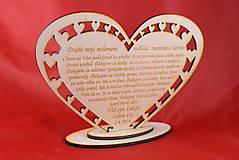 Darčeky pre svadobčanov - Poďakovanie rodičom drevené srdiečko  45 - 9081378_