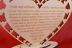 Darčeky pre svadobčanov - Poďakovanie rodičom drevené srdiečko  45 - 9081380_