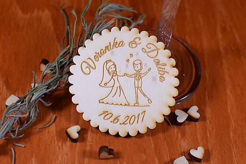 Svadobná magnetka drevená gravírovaná 141