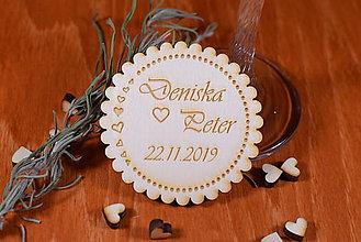 Darčeky pre svadobčanov - Svadobná magnetka drevená gravírovaná 140 - 9079927_