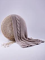 Úžitkový textil - Pletená hnedá deka - detská - 9078252_