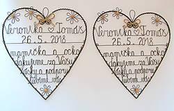 Dekorácie - poďakovanie rodičom  srdce natur 30cm - 9083324_