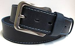 Opasky - Modrý kožený opasok - 9083471_