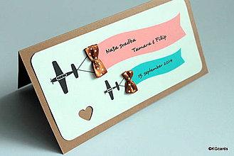 Papiernictvo - Svadobné oznámenie lietadielkové s mašličkami - 9085417_