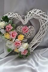 Kvetinové srdce na dvere, aj na svadbu ružové II.