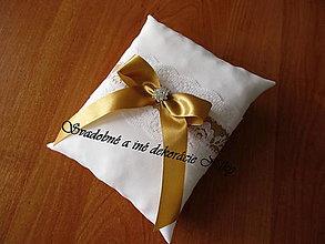 Prstene - Vankúšik pod obrúčky (Zlatá) - 9084999_