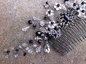 Ozdoby do vlasov - hrebienok čierny štras - 9083651_