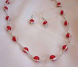 Sady šperkov - Červená clarisková sada  - 9087088_