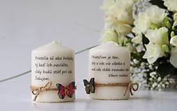 Svietidlá a sviečky - Duo dekoračných sviečok s mottom - 9084891_