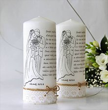 Darčeky pre svadobčanov - Dekoračná sviečka - poďakovanie svadobným rodičom V.. - 9084926_