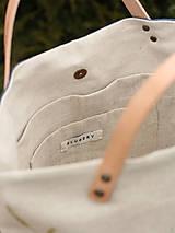 Kabelky - Veľká ľanová kabelka s ručnou maľbou