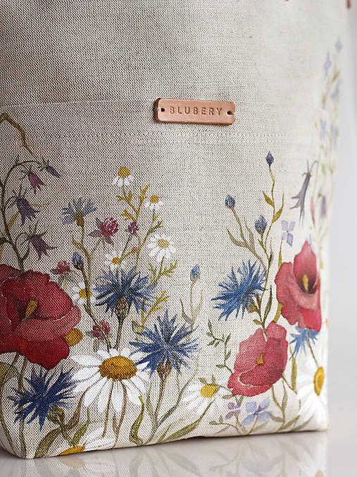 """Veľká ľanová kabelka s ručnou maľbou """"Lúčne kvety"""""""
