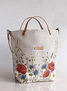 """Kabelky - Veľká ľanová kabelka s ručnou maľbou """"Lúčne kvety"""" - 9084300_"""