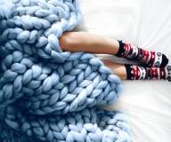 Úžitkový textil - BIELA KÁVA - Obria pletená deka Merino 90x120 - 9085146_