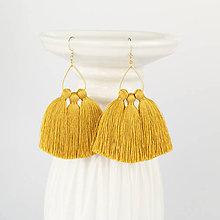 Náušnice - Zlaté náušnice s horčicovými strapčekmi - 9085699_
