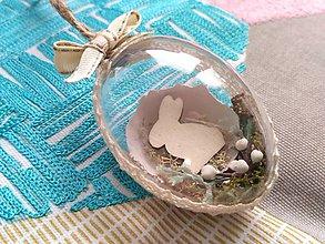 Dekorácie - Veľkonočné vajíčko so zajacom - 9084126_