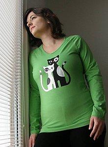 Tričká - Tričko s mačičkami (zelené) - 9083389_