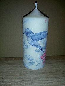 Svietidlá a sviečky - Sviečka - kolibrík, kvety - 9086948_