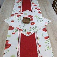 Úžitkový textil - Maky s červenou - stredový obrus  (155 cm x 40 cm) - 9086893_