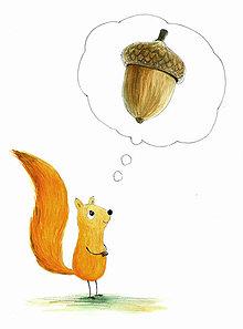 Obrázky - Veverička a oriešok, obrázok do izbičky - 9083367_