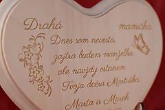 Darčeky pre svadobčanov - Poďakovanie rodičom drevené srdiečko   13 - 9084315_