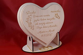 Darčeky pre svadobčanov - Poďakovanie rodičom drevené srdiečko   13 - 9084312_