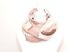 Šály - Oranžovo-hnedý bavlnený tunelový nákrčník s aplikáciou. - 9090057_