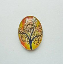 Komponenty - Kabošon - 18x25 mm - sklenený - strom, konáre, tree - 9087836_