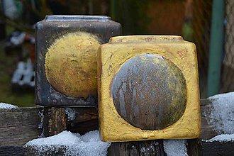 Dekorácie - Bronzová váza, zlatá váza - kocky. - 9088912_