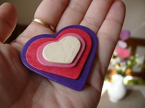 Drevené brošne Srdce dúhy (Fialová)