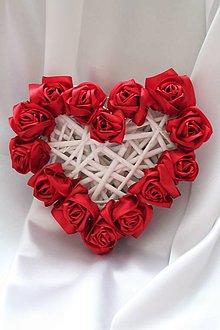 Dekorácie - Saténové srdce na dvere, aj na svadbu červené - 9089042_
