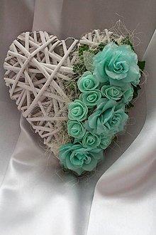 Dekorácie - Svadobné srdce na dvere mentolové - 9089152_