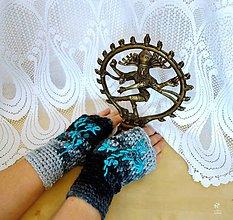 """Rukavice - Bezprstové rukavice """"TYRKYSOVÉ KVETY"""" - 9088971_"""